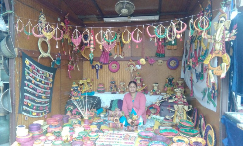Meera Thakur exhibiting sikki grass handicrafts at her stall in Delhi Haat, New Delhi.