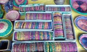 Beautiful bangles made from sikki grass.
