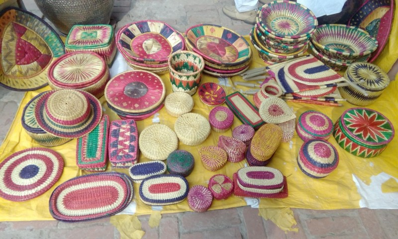 Various functional and decorative items made from sikki grass.